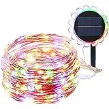 Luces Navidad Exterior GRDE 150 LED DIY Solar Cobre String Lights Impermeable IP65, Cadena de LED with 8 Modes Iluminacion para Interior/Exterior, Jardines, Fiesta de Navidad, Arbol(multi)