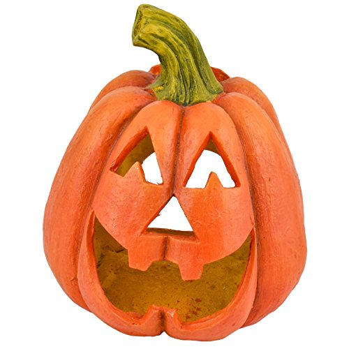 Dadeldo Living & Lifestyle Kürbis Deko Objekt Herbst Halloween Clayfibre 36x30x26cm orange Grusel