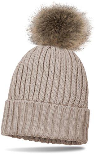 styleBREAKER Doublé Bonnet avec motif côtelé Perl, bonnet tricoté avec pompon fourrure d'art, chapeau d'hiver, Femme 04024031 Beige