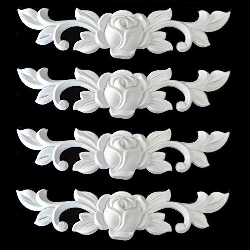 4-er Set Zierleiste Zierteile Verzierungen Rosen Ornament Antik Möbel Ersatzteile weiß