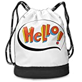 Multifunctional Drawstring Backpack for Men & Women, Comic Speech Bubble with Sketch Drawn Lettering Retro Design Vivid Colors,Travel Bag Sports Tote Sack with Wet & Dry Compartments