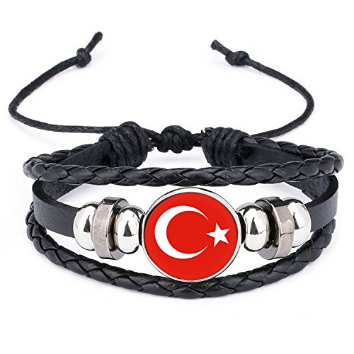 Ndier Türkische Armbänder Silikon Wristband aus Silikon und Leder, geflochten