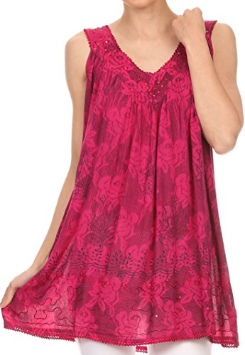 Sakkas Nadiyah longue encolure dégagée brodé Débardeur sans manches Blouse Shirt Top Rose