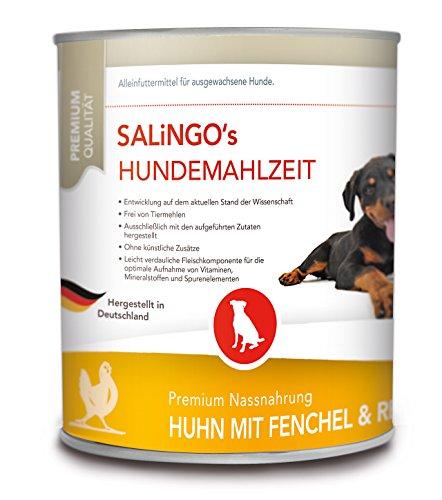 SALiNGO Hundefutter nass, Huhn mit Fenchel und Reis, sensitiv (6x800g) Gute Art Von Fett