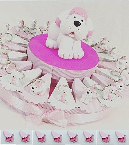 Bomboniere nascita battesimo bambina con 20 portachiavi orsetto e cagnolino bianchi e rosa + salvadanaio