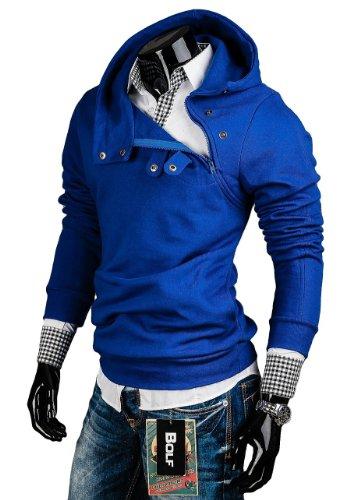 BOLF Herren Kapuzenpullover Sweatshirt Hoodie Pullover Sweatjacke Sportsweastshirt Mix 1A1 Kobaltblau