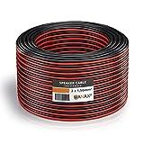 Manax–Cable para altavoz (2x 1,5mm² Rojo/Negro 20m anillo