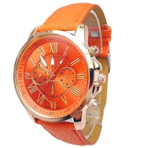 SUNNSEAN Uhr,2018 Frauen Stilvolle Ziffern Kunstleder analoge Quarz-Armbanduhr (Orange)