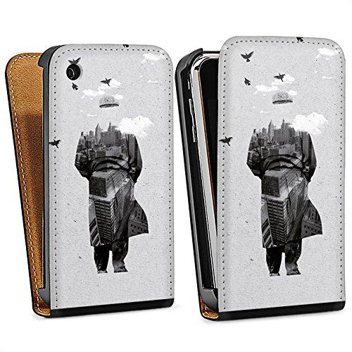 Apple iPhone 5s Housse Étui Protection Coque Silhouette Homme Nuages Sac Downflip noir