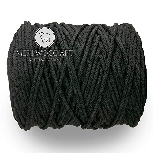 MeriWoolArt Makramee Makramee Garn 6mm, 100m, 50m Baumwolle Seil, Kordel für Tepisch, Quasten, Kisen, Ablagekörbe und Baumwolle Stricken (Schwarz, 100 Meter)