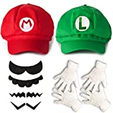 Katara - Costume Super Mario Bros - casquettes Mario et Luigi/ 2 paires de gants blancs de taille unique et ensemble de 6 fausses moustaches - set cosplay jeux vidéo/ enfants ou adultes