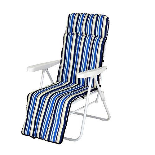 Enrico coveri contemporary sedia sdraio relax, reclinabile e imbottita, con struttura in acciaio, perfetta per arredo casa, giardino ed esterno (blu/bianco)