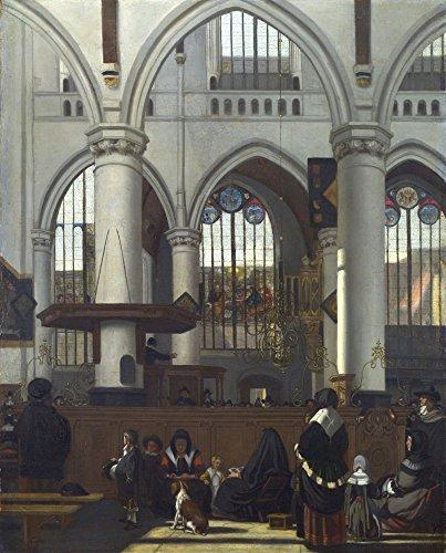 Das Museum Outlet–Innere der Oude Kerk in Amsterdam während einer Predigt. 1658–59, gespannte Leinwand Galerie verpackt. 50,8x 71,1cm