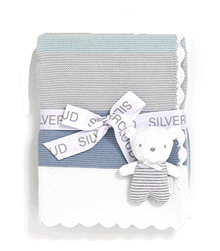 Gorgeous blau/salbei grün Baby Strumpfband Stitch breit Streifen Decke für Kinderwagen/Tragekörbchen,