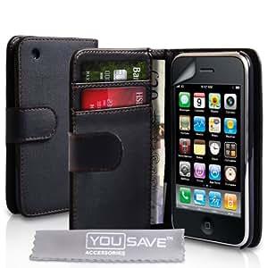 Yousave Accessories TM Schutzhülle Für Das Apple iPhone 3 / 3G /3GS Leder Brieftasche Hulle Schwarz