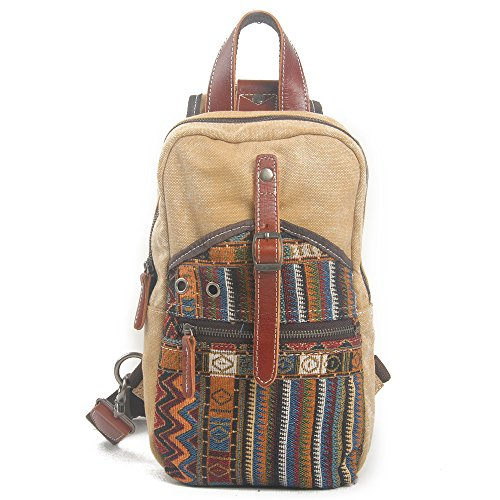 Nuovo, retrò, trend, personalità, stile etnico, zaino, pacchetto diagonale, sacchetto di tela, B0007