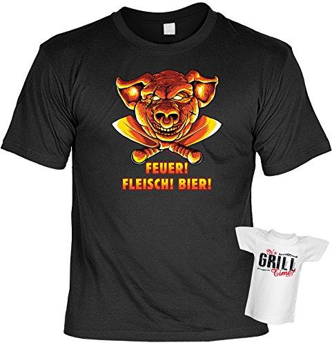 Grill T-Shirt Feuer Fleisch Bier Shirt bedruckt Geschenk Set mit Mini Flaschenshirt Schwarz