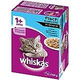 Whiskas 1 Plus Katzenfutter Fischauswahl in Sauce, 48 Beutel (4 x 12 x 100 g)