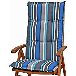 4cubiertas para respaldos 120x 50x 8cm en Gris Azul Rayas Sun Garden Villach 20579–110sin Sillón