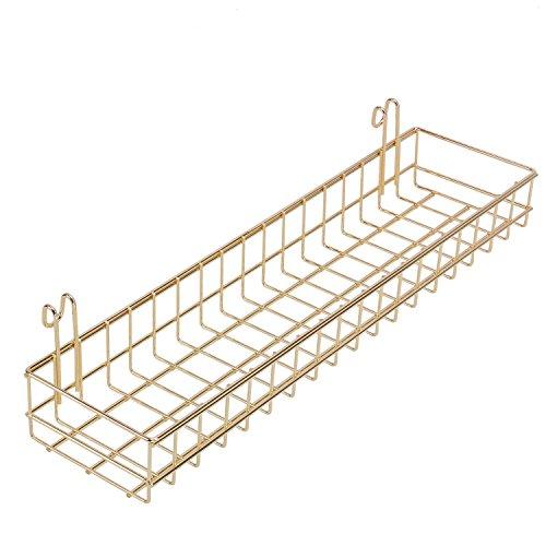 Simmer Stone Gold Korb für Grid Wand/Grid Panel, Wandhalterung Zum Aufhängen Organizer, Draht Metall Ablage Rack Idee für Wand Decor Größe 39,9x 9,9x 5,1cm