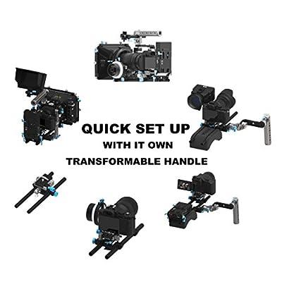 Fotga Quick Set Up Rotatable Handle and Arm Camera Cage Rig with 15mm Standard Rail Rods Quick Release Plate for Blackmagic BMCC BMPCC Canon 5D MarkII MarkIII 5DIV Sony A7R A7RII A7 A7II A7S A7SII Panasoic GH3 GH4 Nikon D500 BMPC URSA URSA mini