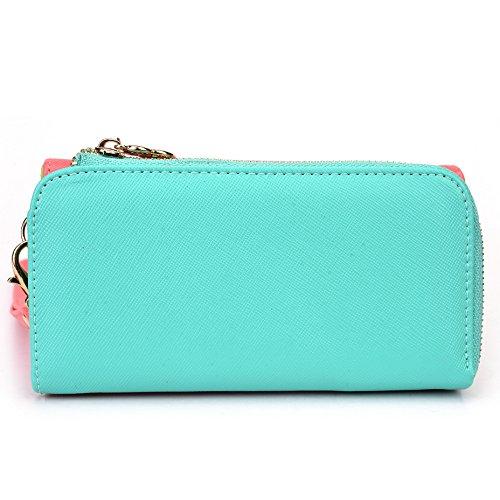 Kroo d'embrayage portefeuille avec dragonne et sangle bandoulière pour Smartphone Sony Xperia E1dual Noir/rouge Rouge/vert