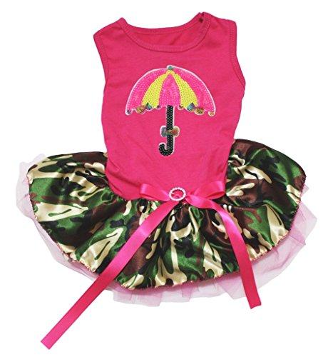 n Regenschirm Hot Pink Baumwolle Shirt Camouflage Tutu 1Hund Kleid ()
