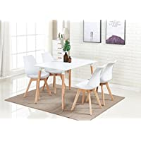 P&N Homewares® Lorenzo Dining Table and 4 Chairs Set Retro and Modern Dining Set White Black and Grey Chairs with White Dining Table (WHITE CHAIRS)