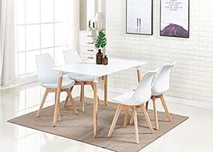 P & N Homewares® Lorenzo Esstisch und 4 Stühle Set Retro