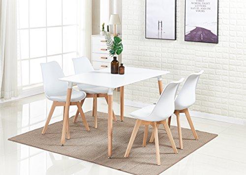 P & N Homewares® Lorenzo Esstisch und 4 Stühle Set Retro und Modern Dining Set Weiß Schwarz und Grau Stühle mit weißen Esstisch skandinavisch (Weisse STÜHLE) - Schönen Speisesaal Möbel