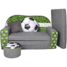 Kindersofa Kindercouch Aufklappen Bettfunktion + Hocker W319 Viele Muster (Football)