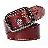 Gürtel Weibliche Nationalen Stil Ledergürtel Lederhose Gürtel Mode Wilden Trend Persönlichkeit Einfache Dekoration (Farbe : Brown, größe : 125cm)