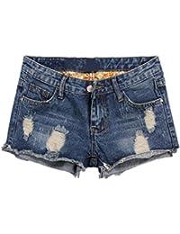 LAEMILIA Denim Shorts Chaud Jeans Femme Déchiré Pants Sexy Club Vintage Rétro Taille Haut Bermuda
