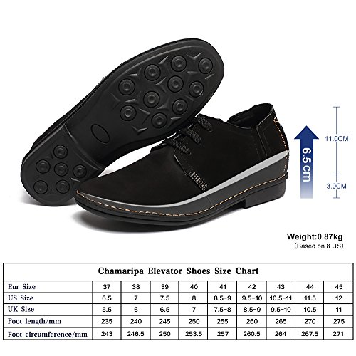 CHAMARIPA Hauteur Croissante Dentelle Confortable Up Chaussures Casual Elevated Bateau Pour Homme Noir/Bleu - 6.5cm Taller - X58H56 Noir