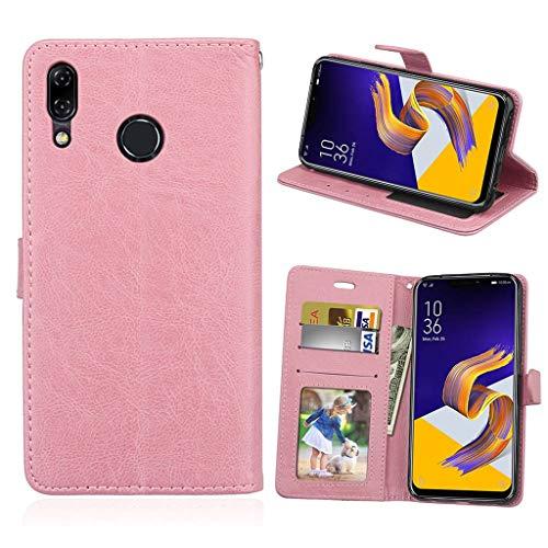 Asus Zenfone 5 2018 Hülle, SATURCASE Luxus Glatt PU Lederhülle Magnetverschluss Brieftasche Standfunktion Handy Tasche Schutzhülle Handyhülle Hülle für Asus Zenfone 5 ZE620KL/Zenfone 5z ZS620KL (Pink)