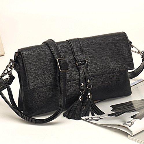 Heheja Frauen Tassel Messenger Bag Routine Umhängetasche Schwarz