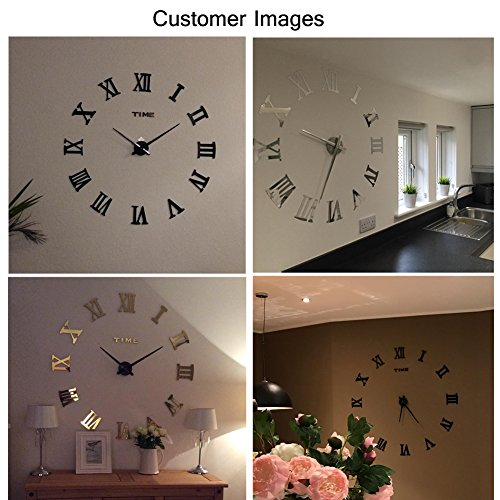 Fas1 grande orologio da parete moderno diy adesivo 3d for Orologi da parete adesivi