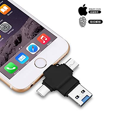 iPhone USB Stick External Drives Memory Stick Pen Drives 4 in 1 USB 3.0 OTG Drive for Apple iPhone iPad iOS Mac Android USB Type-C and PC External Storage Thumb Drive