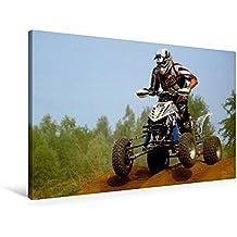 Premium Textil-Leinwand 90 cm x 60 cm quer, Crossfahrer mit Quad - Motocross | Wandbild, Bild auf Keilrahmen, Fertigbild auf echter Leinwand, Leinwanddruck (CALVENDO Sport)