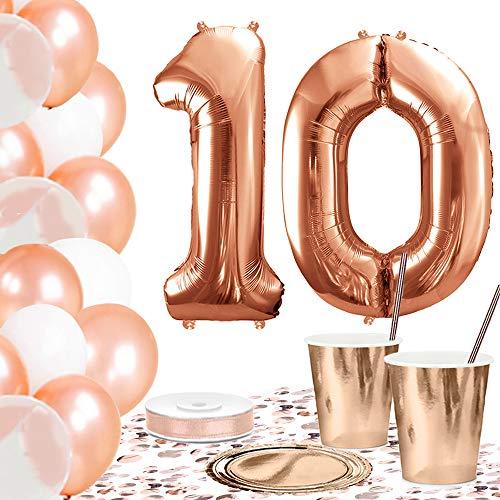 DekoGuru® Partyset in rosé Gold - für 18 Personen (10. Geburtstag) Teller 10