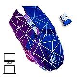 Womdee Gaming Mouse Senza Fili Ricaricabile, 2.4G Gaming Mouse con Tasti Laterali, 3Livelli DPI Regolabile, Design ergonomico, 7Colori retroilluminazione a LED per Gamer PC Laptop Desktop