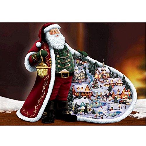 5D DIY Diamond Painting Kit, Santa Wearing A Red Robe Rhinestone Broderie Cross Stitch Arts Artisanat pour Noël Décor 11,8 * 15,7 pouces (30 * 40 cm)