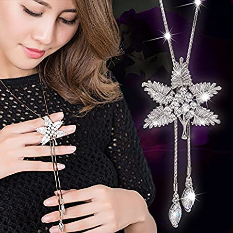 Jiao Wan new Long Necklace female Korean fashion all-match zircon maple leaf sweater chain winter clothing