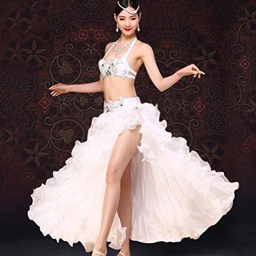 CX Frauen Bauchtanz Kostüm Erwachsene Strass BH Performance Set Hohe Geschlitzte Welle Große Schaukel Kleid Kostüm 2 Stücke (Farbe : Weiß, größe : M) (Weiß Zwei Stück Tanz Kostüm)