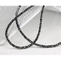 schwarze Diamant Kette 16,3 Karat / 2,2 mm (Gelbgold 750) Diamanten Kette mit Doppelklippverschluss