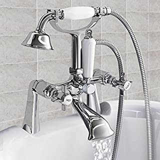 Warmiehomy Traditional Victorian Bath Filler Mixer Tap Shower Classic shower Taps Chrome Brass