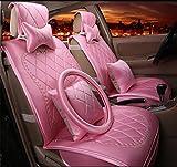 DIELIAN Auto-Sitzbezug für Frauen im europäischen Stil hochwertigen Gold Samt Bestickt mit Neck Kissen und Taille Kissen, pink