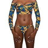 NPRADLA 2019 Damen Digital Totem Druck Mesh Badeanzug Bikini(Gelb,L)