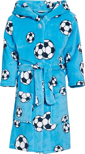 Playshoes Fleece-Bademantel FuBall Albornoz Azul Original 9 años (134-140 cm) para Niños