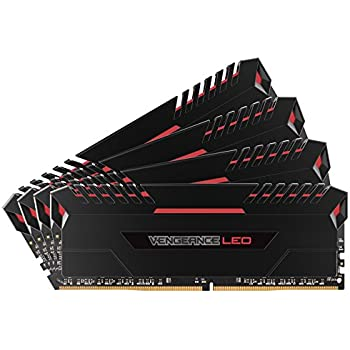 Corsair Vengeance LED - Kit de Mémorie Enthousiaste (64Go (4x16Go), DDR4, 3000MHz, C15, XMP 2.0) - Noir con Rouge LED